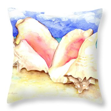 Conch Shells On Beach Throw Pillow