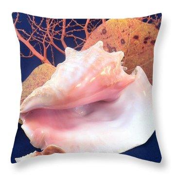 Conch Still Life Throw Pillow by Barbie Corbett-Newmin