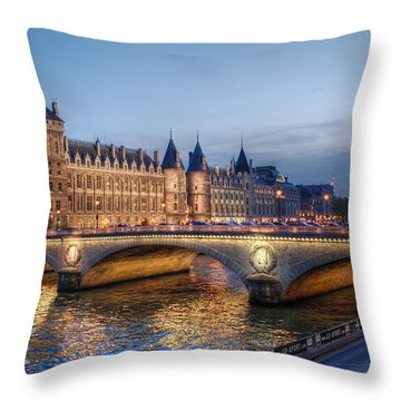 Conciergerie And Pont Napoleon At Twilight Throw Pillow by Jennifer Ancker