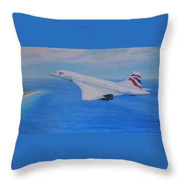 Concorde Over Barbados Throw Pillow by Elaine Jones