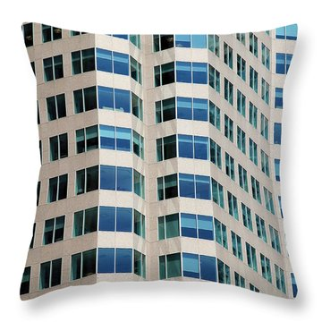 Concrete And Blue Glass Throw Pillow by Valentino Visentini