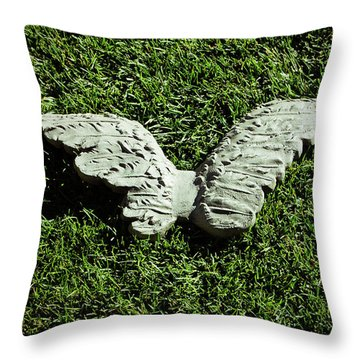 Concrete Angel Throw Pillow by Holly Blunkall