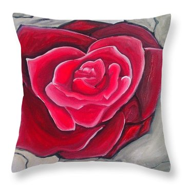 Concrete Rose Throw Pillow by Marisela Mungia