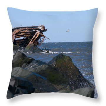 Throw Pillow featuring the photograph Concrete Ship by Greg Graham
