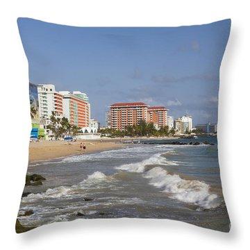 Condado Beach San Juan Puerto Rico Throw Pillow