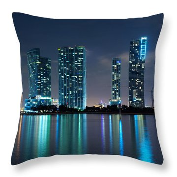 Condominium Buildings In Miami Throw Pillow by Carsten Reisinger