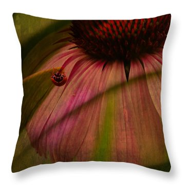 Cone Flower And The Ladybug Throw Pillow by Lesa Fine