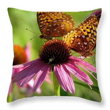 Coneflower Butterflies Throw Pillow