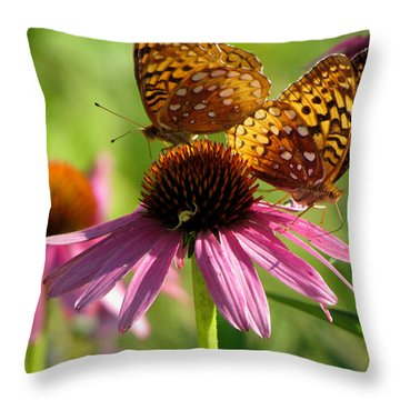 Coneflower Butterflies Throw Pillow