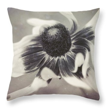 Coneflower In Monochrome Throw Pillow