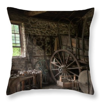 Throw Pillow featuring the photograph Conestoga Wagon At The Blacksmith - Wagon Repair by Gary Heller