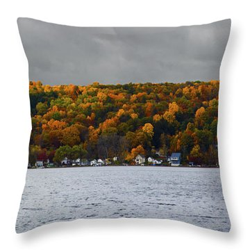 Conesus Lake Autumn Throw Pillow by Richard Engelbrecht