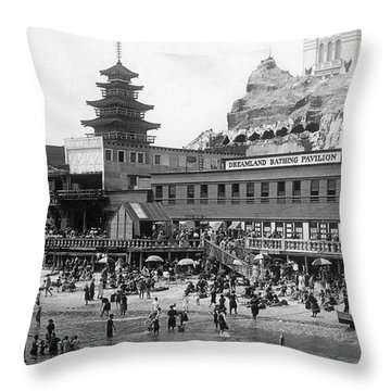 Coney Island - Dreamland Beach Throw Pillow by MMG Archives