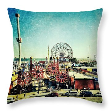 Coney Island Amusement Throw Pillow