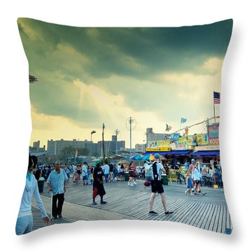 Coney Island Brooklyn New York City Throw Pillow by Sabine Jacobs