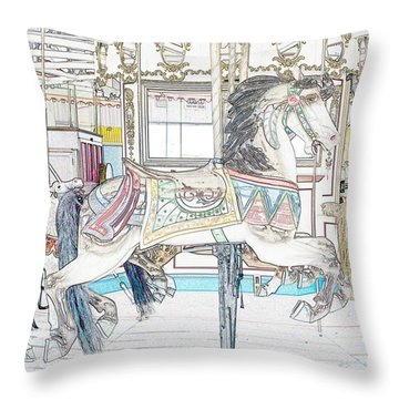 Coney Island Carousel Throw Pillow