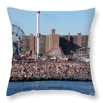 Throw Pillow featuring the photograph Coney Island by Ed Weidman