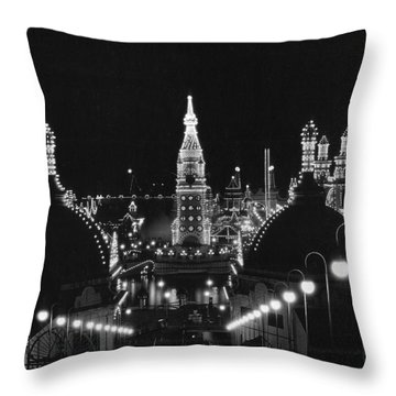 Coney Island - Nighttime Roller Coaster Throw Pillow by MMG Archives