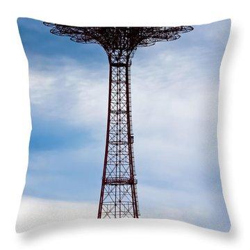 Coney Island Parachute Jump Throw Pillow