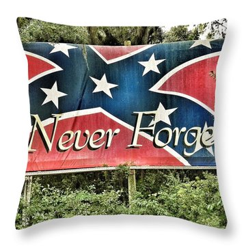 Confederate Flag In The Woods Throw Pillow