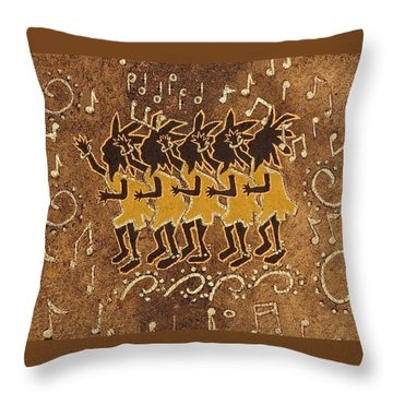 Conga Line Throw Pillow by Katherine Young-Beck