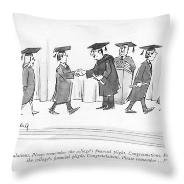 Congratulations. Please Remember The College's Throw Pillow