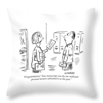Congratulations!  Your Manuscript Throw Pillow