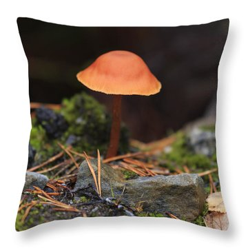 Conical Wax Cap Mushroom Throw Pillow by Louise Heusinkveld