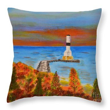Fall, Conneaut Ohio Light House Throw Pillow by Melvin Turner