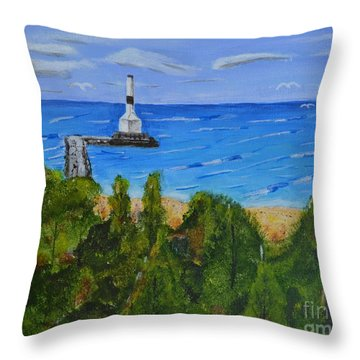 Summer, Conneaut Ohio Lighthouse Throw Pillow by Melvin Turner