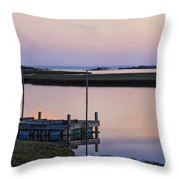 Connecticut Backwaters Sunset With Dock Series 4 Throw Pillow