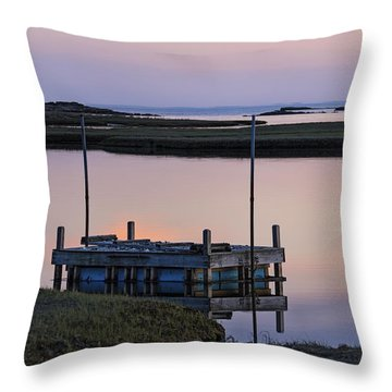 Connecticut Backwaters Sunset With Dock  Throw Pillow