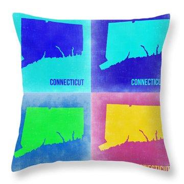 Connecticut Pop Art Map 2 Throw Pillow by Naxart Studio