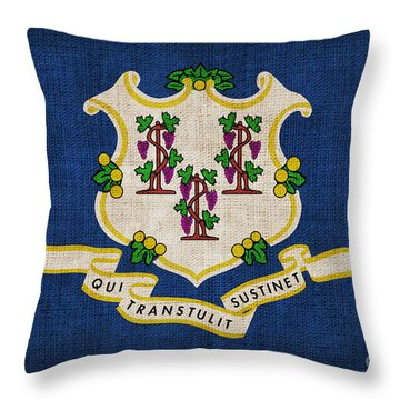 Connecticut State Flag Throw Pillow by Pixel Chimp