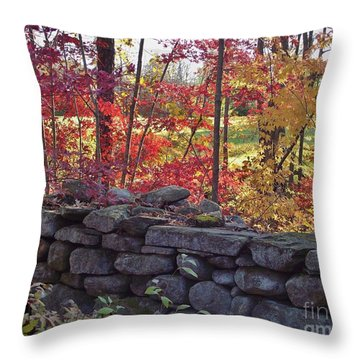 Connecticut Stone Walls Throw Pillow
