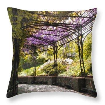Conservatory Garden Wisteria Throw Pillow