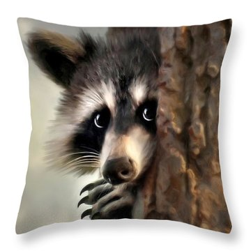 Throw Pillow featuring the mixed media Conspicuous Bandit by Christina Rollo