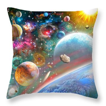 Constellations And Planets Throw Pillow by Adrian Chesterman