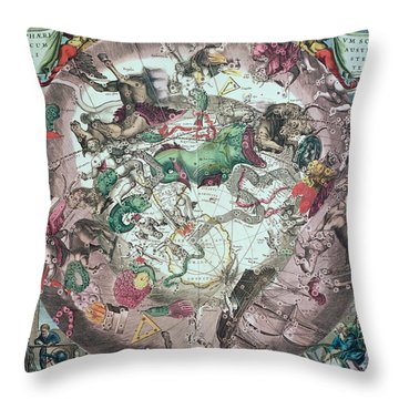 Constellations Of The Southern Hemisphere, From The Celestial Atlas, Or The Harmony Of The Universe Throw Pillow by Andreas Cellarius