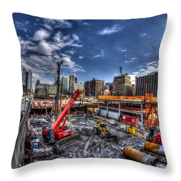 Throw Pillow featuring the photograph Constructing New York City by Rafael Quirindongo