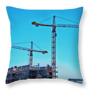 construction cranes HDR Throw Pillow by Antony McAulay