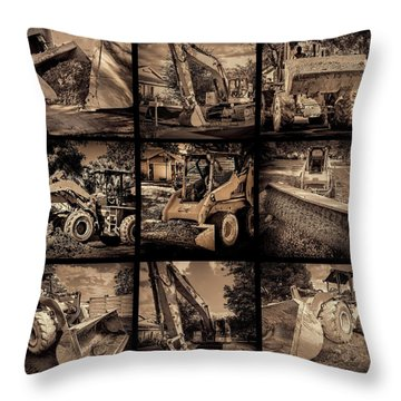 Construction Collage-1 Throw Pillow