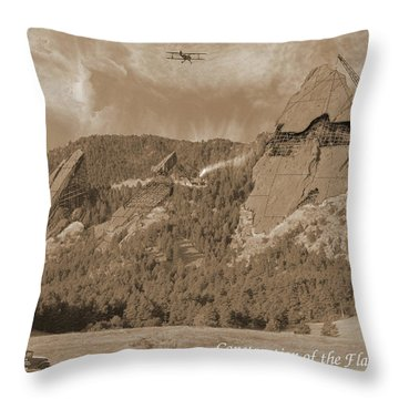 Construction Of The Flatirons - 1931 - Sepia Throw Pillow
