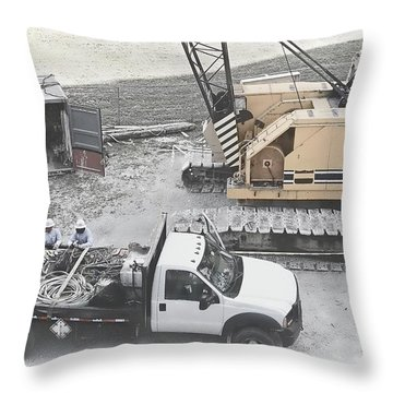 Construction Site Throw Pillow by Rudy Umans