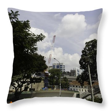 Construction Work Ongoing In Singapore Throw Pillow by Ashish Agarwal