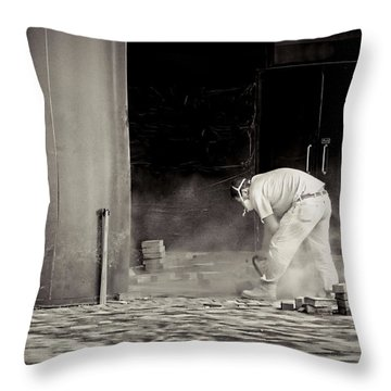 Construction Worker Bw Throw Pillow by Rudy Umans