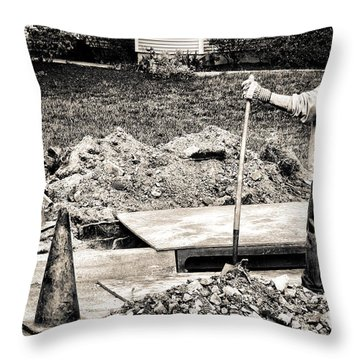 Construction Worker Throw Pillow by Olivier Le Queinec