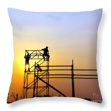 Construction Workers On A Scaffold Throw Pillow by Yali Shi