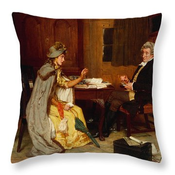 Consulting Her Lawyer Throw Pillow by Frank  Dadd