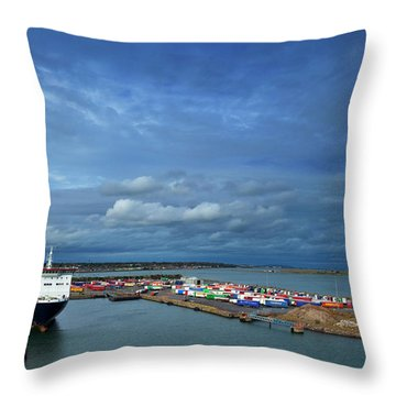 Container Docks At The Mouth Throw Pillow
